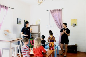 Nagree instructs children on making their own granola during a children's cooking class at La Patisserie.